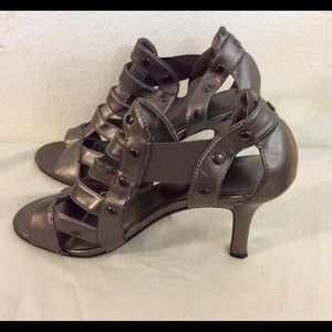Never Worn, Metallic Silver Stretch Sandal Booties